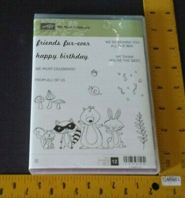 Stampin Up WE MUST CELEBRATE Stamp Set Friend Animals Bunny Raccoon Birthday NEW