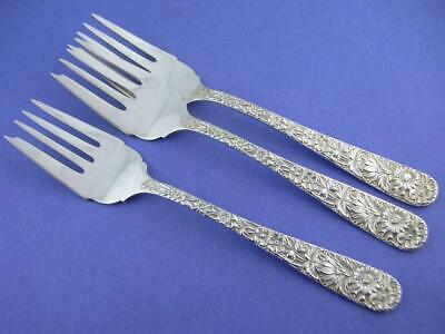 3 Sterling S KIRK & SON Salad Forks REPOUSSE ~ no mono