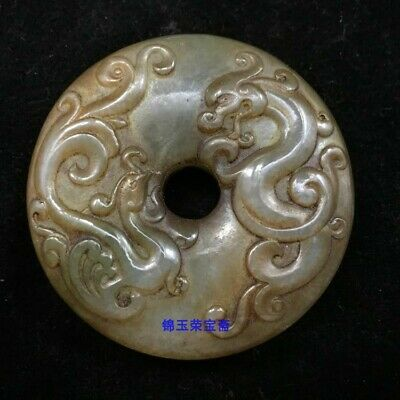"2"" China old antique Natural handcarved hetian white jade dragon phoenix Pendant"