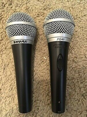"2X Shure PGA48-QTR Cardioid Dynamic Microphone with 15 ft  XLR to 1/4"" Cable"