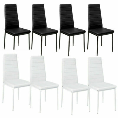 Cool New 4X Faux Leather High Kitchen Dining Chairs Set Metal Leg Pabps2019 Chair Design Images Pabps2019Com
