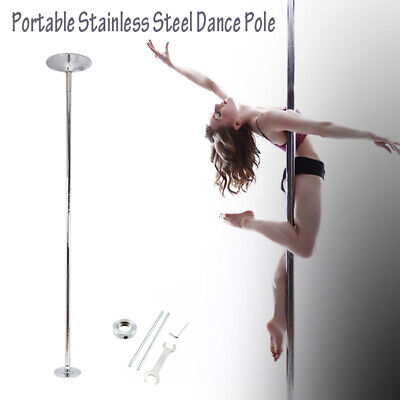 45mm Stainless Steel dance Pole Dancing Kit Portable Fitness Spinning Static New