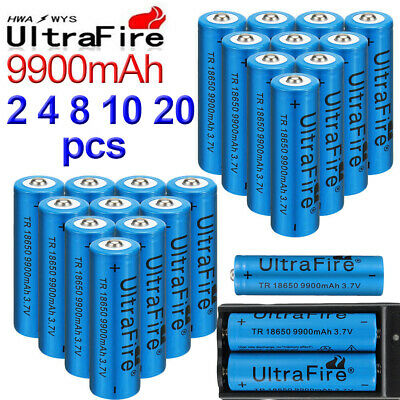 18650 Battery 3.7V 9900mAh Li-ion Rechargeable Batteries 2 4 8 10 20pc & charger