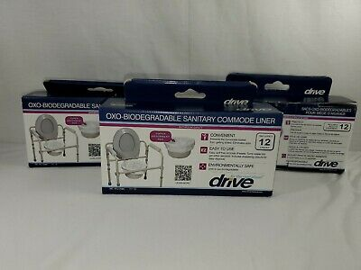 Drive Medical Oxo-Biodegradable Sanitary Commode Liners  2 Boxes (36)