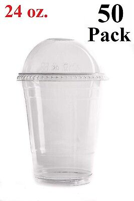 50 Set 24 Oz. Plastic Cups with Dome Lids for Iced Coffee Milkshakes Smoothies