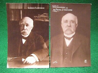 Two (2) Georges Clemenceau. French Political Leader. RPPC Postcard. Early 1900's