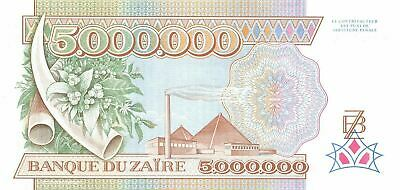 Zaire 5,000,000  Zaires  1.10.1992 P 46a  Series  N-B Uncirculated Banknote Mea6