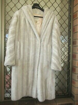 Grey fake faux mink long fur coat M to L vintage in great con