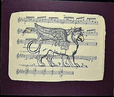 """Original Signed Hand Drawing/ / Painting """"Griffin"""" on Vintage Note Music Paper"""