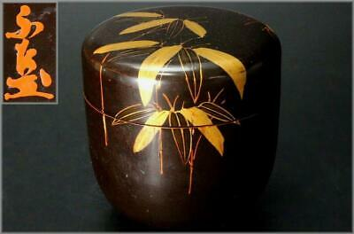 SGO23 Japanese wooden bamboo leaves Gold makie Natsume tea caddy signed #sado