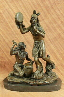Large Bronze Sculpture - Native American Indian Playing Ceremonial Drum 25 LBS