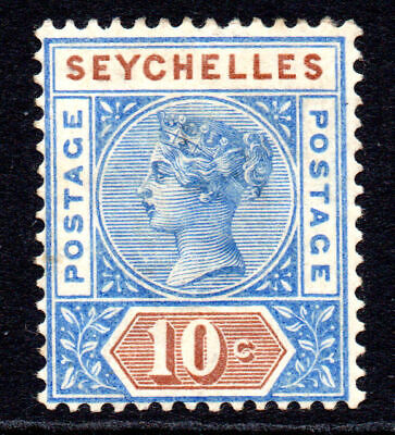 Seychelles 10 Cent Stamp c1890-92 Mounted Mint Die II