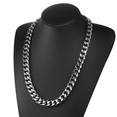 13/15/17mm 316L Stainless Steel Heavy Link Silver Curb Cuban Chain Men Necklace