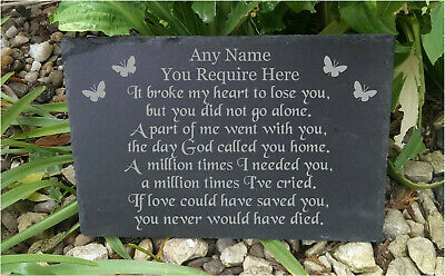 Slate Stone Heart Engraved Memorial Plaque Rememberance Grave Marker Any Name