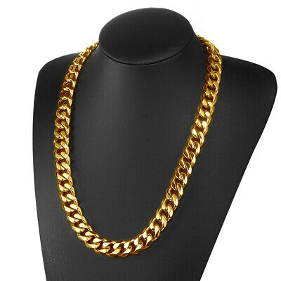 13/15/17mm 316L Stainless Steel Heavy Link Gold Curb Cuban Chain Men Necklace