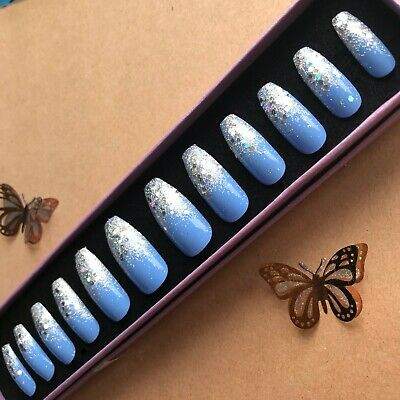 Hand Painted False Nails XL COFFIN (or ANY) Blue Glitter Party - Ombre Sparkle