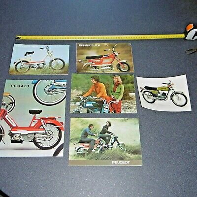 PEUGEOT LOT 5  CATALOGUES + 1 PHOTO 1975 vélomoteur   moto mobylette vélo