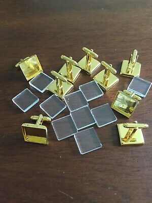 10 x 18mm SQUARE GOLD TONE CABOCHON SETTING CUFF LINKS BLANKS  WITH GLASS TOP