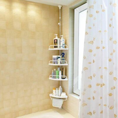 Telescopic Bathroom CORNER SHELF STORAGE 4 TIER SHOWER CADDY ORGANIZER