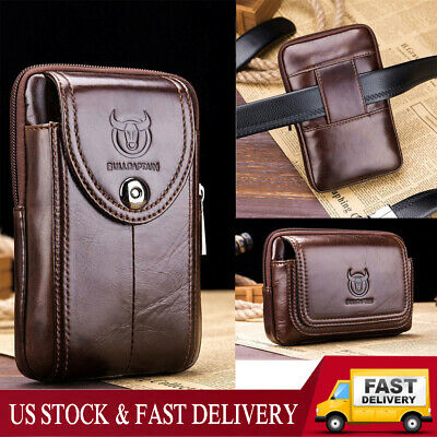ded7033a47ce LEATHER FANNY PACK Travel Pouch Man Purse Passport Waist Bag Phone 6 ...
