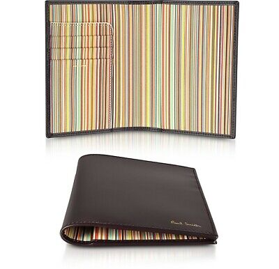 PAUL SMITH Multi Stripe BURGUNDY Leather PASSPORT holder cover wallet