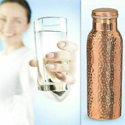 Pure Copper Ayurveda Health benefit Hand Hammered Water Bottle Container