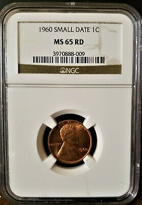 1960 Lincoln Memorial Reverse Cent,  Small Date 1C Ms65 Red Rd Ngc Graded