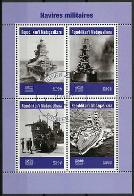 Madagascar 2019 CTO Military Ships Battleships Warships 4v M/S Stamps
