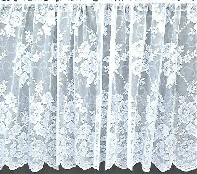Danielle All Over Floral Straight White Net Curtain With Scalloped Base By Metre