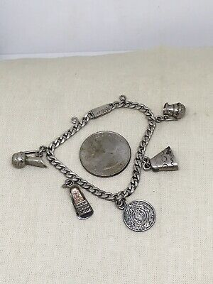 "Vtg Antique 6"" Mexican Sterling Silver Charm Bracelet 12.5gb30-9"