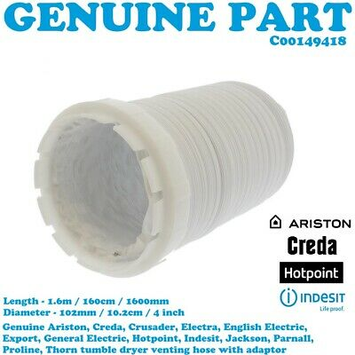 Vent Hose 10cm x 2.5m for Hotpoint TVM55A TVM65A V3D00P Tumble Dryer 4/""
