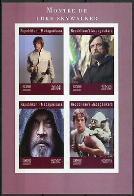 Madagascar 2019 MNH Luke Skywalker Mark Hamill Yoda 4v IMPF M/S Star Wars Stamps