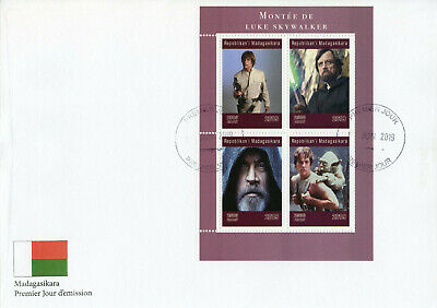 Madagascar 2019 FDC Luke Skywalker Mark Hamill Yoda 4v MS Cover Star Wars Stamps