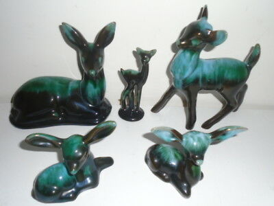Bmp Blue Mountain Pottery  Doe C Doe  Group  Rare Fawn & Stag   Factory 1Rsts