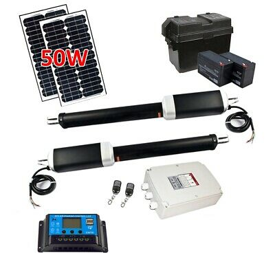 ALEKO GG1300SLV Solar Powered Dual Swing Gate Opener for Gates Up to 1300 lb