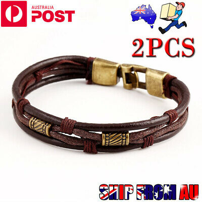 2X Mens Surfer Leather Bracelet Wristband Braided Rope Bronze Buckle Wrap Brown