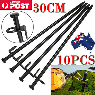 10PCS 11.81in Heavy Duty Steel Metal Tent Canopy Camping Stakes Pegs Ground Nail