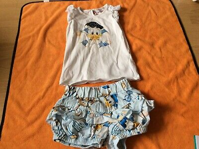 Kids toddlers girls Mona Lisa Donald Duck shorts top set age 2-3
