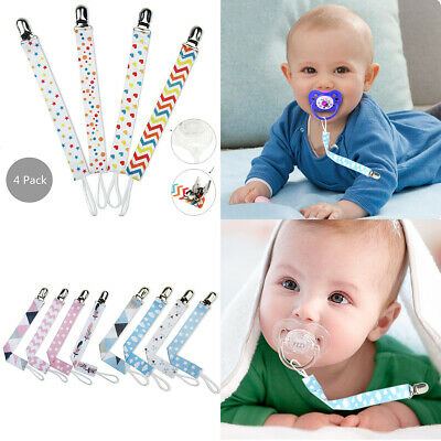 4 X Beautiful Dummy Clip Baby Soother Clips Chain Holder Pacifier Modern Design
