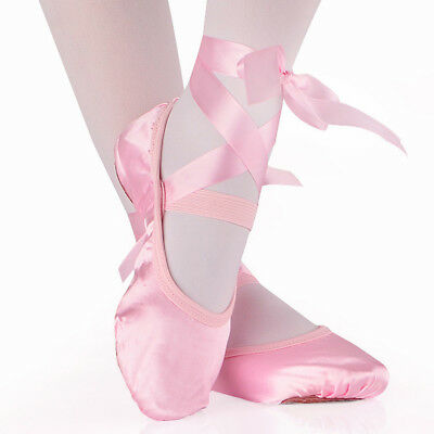 GC- Women Girls Ballet Dance Shoes Soft Satin Pointe Suede Sole Yoga Shoes Eyefu
