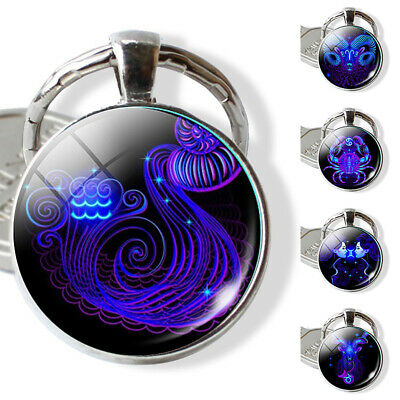 GC- Cool 12 Constellation Zodiac Sign Glass Pendant Key Ring Holder Keychain Gif