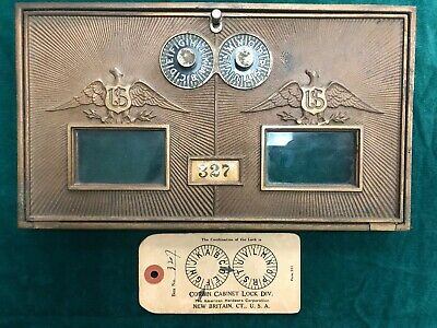 Vintage Corbin Brass Post Office Mail Box Double Eagle Door Dial W/ Combo Card