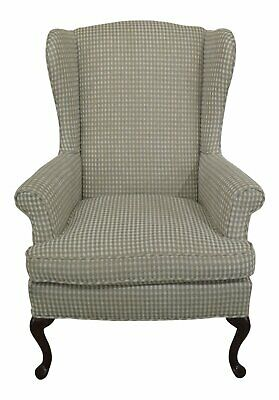 47697EC: Queen Anne Mahogany Upholstered Wing Back Easy Chair