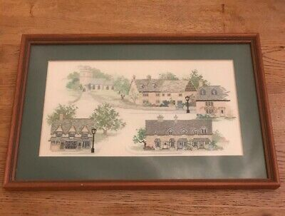 Vintage Antique Tapestry Needlepoint Victorian Houses Wooden Frame Picture