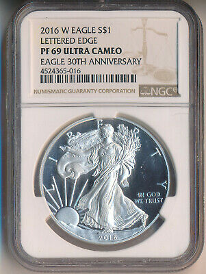 2016-W Proof American Silver Eagle **Ngc Pf 69 Ultra Cameo**Ase 30Th Anniversary