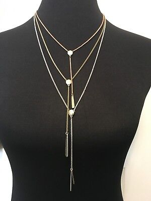 LUCKY BRAND Tri-Tone Triple Layer Paddle Pendant Necklace NWT $49 Fast Shipping!