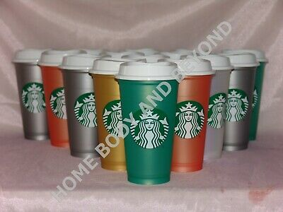 STARBUCKS Reusable Grande 16 OZ Plastic Shimmery Hot Cup Mug You Choose Color