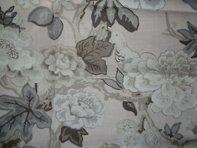 "SCHUMACHER ""BERMUDA BLOSSOMS"" 0.55 metres BIRD FABRIC REMNANT BLUSH (PINK)"