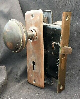 Antique Vintage Arts & Crafts Copper Steel Interior Door Lockset Knob Plate Lock