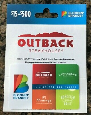 Outback Steakhouse Gift Card $100 Value ( All Bloomin Brands Inc restaurants)